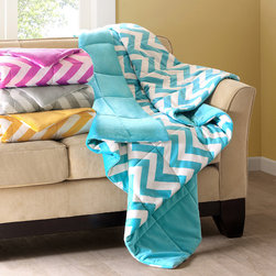 ID-Intelligent Designs - Intelligent Design Chevron Throw - The chevron throw adds a fun pop of color to your bedroom with chevron print. Made from polyester this throw is machine washable for easy care.