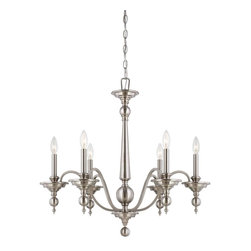 Savoy House Lighting - Savoy House 1-1726-6-SN Sutton Place 6 Light Chandelier, Satin Nickel - Sutton Place has the look of traditional fixtures with a little modern flair. The Satin Nickel finish and classic design make this group flawless.