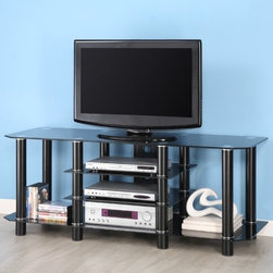 """Home Loft Concept - Dynasty 60"""" TV Stand - This spacious TV stand offers a contemporary design, which will add a touch of style to any modern room. The Dynasty 60'' TV Stand in Black is constructed of durable, powder-coated steel tubing and thick tempered safety glass. Four levels of shelving combine to accommodate televisions up to 65'' and provide ample space for AV components. Cable management in the back allows cords to be organized and out of sight. All levels of glass are securely fastened offering rugged construction while maintaining a sleek look. Features: -Black legs with black glass shelves.-Ample storage space for AV components.-Cable management organizes all wires and cords.-Top shelf is 8 mm thick with a weight capacity of 300 lbs.-Lower shelves are 6 mm thick.-Constructed of tempered safety glass and steel.-Recommended TV Type: Flat screen.-TV Size Accommodated: 65"""".-Finish: Black.-Powder Coated Finish: Yes.-Gloss Finish: No.-Material: Tempered safety glass / Steel / MDF with solid wood veneer.-Number of Items Included: 1.-Solid Wood Construction: No.-Distressed: No.-Exterior Shelves: Yes -Adjustable Exterior Shelves: No..-Scratch Resistant (Scratch Resistant) : No.-Ventilation Features: Yes.-Hardware Finish: Metal.-Casters: No.-Accommodates Fireplace: No.-Fireplace Included: No.-Media Player Storage: Yes.-Media Storage: Yes.-Cable Management: Yes.-Weight Capacity: 250 lbs.-Swatch Available: No.-Commercial Use: No.-Lift Mechanism: No.-Expandable: No.-TV Swivel Base: No.-Hardware Material: Metal.-Product Care: Wipe with dry or wet cloth.Specifications: -ISTA 3A Certified: Yes.Dimensions: -Overall Height - Top to Bottom: 23"""".-Overall Width - Side to Side: 60"""".-Overall Depth - Front to Back: 12"""".-Drawer: No.-Shelving: Yes.-Cabinet: No.-Overall Product Weight: 87 lbs.Assembly: -Assembly Required: Yes.-Tools Needed: Tools provided.-Additional Parts Required: No.Warranty: -Product Warranty: 30 Day defect."""