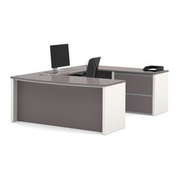 Bestar - Bestar Connexion Slate & Sandstone 71 x 93 U-Shaped Workstation Desk - The desk is made of durable 1 inch commercial grade work surface with melamine finish that resist scratches stains and wears. It features an impact resistant 0.25 cm PVC edge. Grommets are available on the station for efficient wire management. The executive desk the credenza the hutch and the bridge meet or exceed ANSI/BIFMA performance standards. The oversized pedestal offers two file drawers with letter/legal filing system. The drawers are on ball-bearing slides and the keyboard drawer features double-extension slides for a smooth and quiet operation. The station is fully reversible. Also available in Bordeaux and Slate finish. Connexion is a contemporary and durable collection that features a wide variety of configuration options that will adapt to your specific needs.Nowadays performance productivity and quality of life are fundamental to achieving our personal and professional goals. Bestar's home and office furniture design is based upon these criteria as well as on today's reality. On average we spend about 40 hours a week at work (home or office) which represents a large portion of our time. Various factors have a direct impact on our well-being at work: an important concern in the current employment environment continually changing and at an ever-increasing pace. Therefore organizing your space is certainly a parameter to consider. Features include Strong and large work surface Plenty of room to organize your documents Multiple configuration options. Specifications Finish/color: Slate & Sandstone.