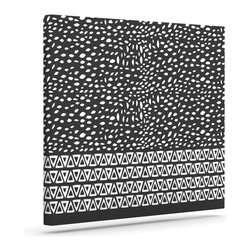 """Kess InHouse - Pom Graphic Design """"Wind Night"""" Black White Wrapped Art Canvas (12"""" x 10"""") - Bring your outdoor patio to life with this artistic outdoor canvas wrap featuring gorgeous artwork by KESS InHouse. These canvases are not only easy to hang and remove but also are the perfect addition to your patio collection. These canvases are stretched around a wooden frame and are built to withstand the elements and still look artistically fabulous. Decorating your patio and walls with these prints will add the splash of art and color that is needed to bring your patio collection together! With so many size options and artwork to choose from, there is no way to go wrong with these KESS Canvas Wraps!"""