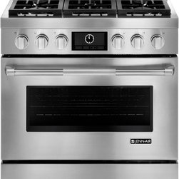"Jenn-Air Pro Style Series JGRP436WP 36"" Pro-Style® Gas Range - 36"" Pro-Style® Gas Range with 6 Burners and 5.1 cu. ft. Capacity Self Cleaning Convection Oven, LCD Display, Cast Iron Grates"