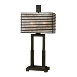 Uttermost - Uttermost 26291-1 Becton Modern Metal Table Lamp - Metal base finished in oil rubbed bronze. Metal rectangle shade with an oil rubbed bronze finish and champagne mica liner.
