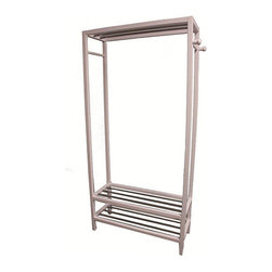 None - White Hanger and Shoe Rack Stand - Color: White Materials: Wood and steel Dimensions: 33.5 inches long x 12.75 inches wide x 65.25 inches high
