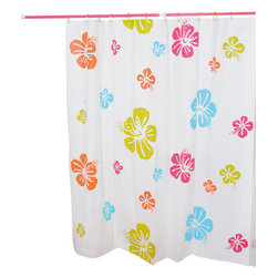 Printed Shower Curtain with Rings Hibiscus Peva Multicolor - This promotional printed shower curtain Hibiscus for bathrooms is in Peva (15 % Eva and 85 % polyethylene). Its colorful flowers patterns offer an original and brilliant deco. Set of 12 white shower rings supply. It will fit perfectly in your shower or bathtub. Prior to hanging, immerse curtain in a bath of warm water to help remove creases. Clean with soapy water only. Width 71-Inch and height 71-Inch. Color multicolor. This shower curtain is perfect to add a decorative touch in your bathroom! Complete your bathroom decoration with other products of the same collection. Imported.