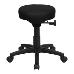 Flash Furniture - Flash Furniture Saddle-seat Utility Stool in Black - Flash Furniture - Drafting Chairs - WL1620GG - This backless stool is practical for any fast-paced environment. The small frame design of a backless stool makes it easy to maneuver around tight spaces with ease. This stool can be used in a multitude of environments from the Classroom Doctor's Offices Hospitals Garages and Workshops. [WL-1620-GG]