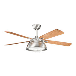 "Kichler 3-Light Fan - Brushed Stainless Steel - Three Light Fan Blade pitch: 14. Blade span: 54"". Blade material: ply. Mounting slope-pitch: 30 degrees or 7/12. Includes 8"" length x 1"" (o. D) downrod. Full function 3 speed cooltouch��_ control system: 3 speeds forward and reverse / motor off / lights on/off plus full range dimming (included). Speeds: 3. Motor type: ac induction. Integrated (4) x 40 watt e-12 krypton t3 lamps (included). Not low ceiling adaptable. Motor width: 14. 50"". Motor size: 188mm x 25mm. Watts: high - 69, med - 40, low - 14. Rpm: high - 160, med - 112, low - 63. Cfm: high - 5878, med - 4290, low - 2254. Airflow efficiency - CFM per minute per watt: high - 85, med - 107, low - 161"