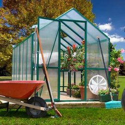 EasyGrow 6 x 12 ft. Dual Door Greenhouse Kit - Additional featuresPeak height: 7 ft. 2 in.Sidewall height: 5 ft.Crisscross steel wires make the greenhouse sturdyCorrosion-free materialsClassic green colorThe EasyGrow 6 x 12 ft. Dual Door Greenhouse Kit makes it easy and fun to grow vegetables and flowers right at home. For both the casual and the serious gardener, this greenhouse kit is designed to give years of enjoyment and success. Constructed of powder-coated, forest green, heavy-gauge extruded aluminum with walls made of 4mm twin opaque acrylic polycarbonate, this greenhouse has everything you need to keep your plants healthy and safe. The aluminum-framed, hinged French doors and roof and side venting system with an auto opener are just two of this greenhouse's outstanding features that will help your plants bloom.This beautiful greenhouse has a standard roof vent for fresh air entry, and side vents ensure proper air circulation. Two shelves span the full length of the greenhouse so you can keep your plants organized and safe as well as create a potting area. The greenhouse is made of corrosion-free materials that can stand up to the elements.EasyGrow's rigid-frame structure has vertical sidewalls and rafters for clear-span construction. There are no columns or trusses to support the roof. Glued or nailed plywood gussets connect the sidewall supports to the rafters to make one rigid frame. The conventional gable roof and sidewalls allow maximum interior space and air circulation.EasyGrow's acrylic polycarbonate has a prism design that captures more light than any greenhouse on the market. The multifold crystal roofing allows you to maximize the sun's power, capturing the sun's energy for light and heat during cool winter to make your growing experience more efficient and economical. This design also reduces the accumulation of snow.This greenhouse is sturdy and durable, due to the high-quality frame and crisscross steel wire system. Construction requires no base, and easy-to-read picture assembly instructions make it a breeze to erect your very own greenhouse. Patented Push & Click connecters enable you to build the greenhouse using only a Phillips screwdriver and pliers. Assembly is a weekend project for one or two people. Dimensions: 6W x 12L x 7.5H ft.About Systems Trading Corporation.Systems Trading Corporation (STC) was incorporated in 1994 as a manufacturer and distributor of high-quality, innovative, easy-to-use products at affordable prices. The company is privately held, with a skilled professional staff. Among the products offered, you will find the most innovative line of TV and flat-screen wall and ceiling mounts, the USA's best-selling backyard hobby greenhouses, the world's best-selling robotic lawn mower, and mini coolers and mood light products.