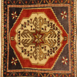 Oushak - Square Vintage Oushak Hand Knotted Rug 1'10 x 2'3 - Character, tradition, pattern and palette converge in this gorgeous semi-antique Hand Knotted Turkish Rug, woven in the small west-central-Anatolian town of Oushak.
