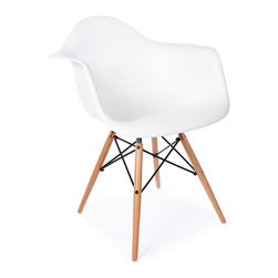 "Vertigo Interiors USA - High Quality Eames Style Classic DAW Dowel Dining Lounge Arm Chair, White - The Eames Style DAW arm chair features the iconic Eames style wooden ""dowel"" legs.  This chairs blends in with any type of dining setting.  The high quality Polypropylene is easy to clean and is extremely durable."