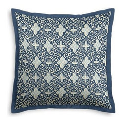 Blue Moroccan Mosaic Custom Euro Sham - Popped collars, statement necklaces, crisply ironed pants  it's the little details that complete a perfectly tailored look. And the sharp contemporary edging of the Tailored Euro Sham will do just that for your bed.  We love it in this royal and sky blue block print reminiscent of traditional Moroccan mosaics.