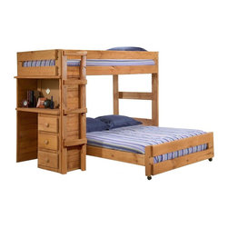 Chelsea Home - Twin Over Full Loft Bed - NOTE: ivgStores DOES NOT offer assembly on loft beds or bunk beds.. Includes slat packs and desk end with three drawers. Mattresses not included. Rustic style. Wooden ladder. Metal brackets are used to connect the rails to the headboard and footboard. Rails include a 1.25 in. cleat which is glued and screwed to the rail for extra strength to support the mattress foundation. Drawer is mounted on a rolling metal glide for easy opening and closing. Exceed all safety standards of the consumer product safety commission. Constructed for strength and durability. Can hold up to 400 lbs. of distributed weight. Warranty: One year. Made from solid pine wood. Ginger stain finish. Made in USA. Assembly required. Distance from floor and bottom of top bunk: 49 in.. Drawer: 12 in. W x 9.5 in. D x 4.5 in. H. Overall: 80 in. L x 80 in. W x 62 in. H (284 lbs.). Bunk Bed Warning. Please read before purchase.Warning: Falling hazard, bunk beds should be used by children 6 years of age and older!