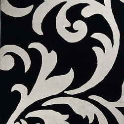 Handtufted Modern & contemporary Pure Wool Area Rug Floral B/W Carpet - A beautiful Modern & contemporary hand Tufted carpet.