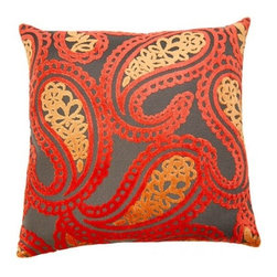 Squarefeathers - Sunset, Paisley Pillow - A dazzling collection that will bring light and life into your home. Each pillow is unique and is radiant! Made of rayon and polyester with a knife edge trim. It has a soft and pump feataher/down insert inclosed with a zipper. Like all of our products, this pillow is handmade, made to order exclusively in our studio right here in the USA.