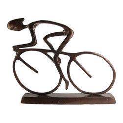 Danya B - Large 20 Inch Cyclist with Helmet in Moving Forward Motion Statue - This gorgeous Large 20 Inch Cyclist with Helmet in Moving Forward Motion Statue has the finest details and highest quality you will find anywhere! Large 20 Inch Cyclist with Helmet in Moving Forward Motion Statue is truly remarkable.