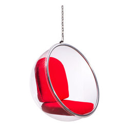 Bolo Suspended Chair - Be the boy in the bubble with the Bolo Suspended Chair. Transparent body makes the red cushions pop. Paul Simon would approve.