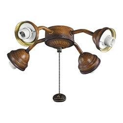 Kichler Lighting - Kichler Lighting 350102MDW Mediterranean Walnut Fan Bent Arm Fitter - 4 Bulbs, Bulb Type: 40 Watt Candelabra, Bulbs Included; Weight: 1.50lbs