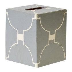 Worlds Away Kleenex Box Grey and Cream Pattern - Worlds Away Kleenex Box Grey and Cream Pattern