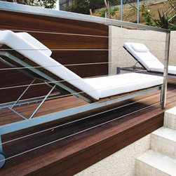 Luma Adjustable Chaise Lounge, Snow White - Adjustable chaise lounges in ipe and solid marine-grade anodized aluminum with snow white cushions from the Luma Collection by Modern Outdoor. Geometrically-inspired, customizable furniture ideal for lounge, pool and coastal settings.