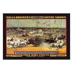 """Buyenlarge.com, Inc. - Sells Brothers' Enormous United Shows: Three Ring Circus- Paper Poster 12"""" x 18"""" - Everything at once is the best way to describe this circus poster for the Sells Brothers' spectacle. Sells Brothers Circus was started by Lewis Sells and Peter Sells in the United States. It ran from 1862 to 1863 and again from 1871 to 1895."""
