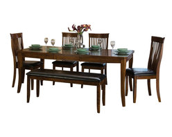 Homelegance - Homelegance Alita 6-Piece Extension Dining Room Set in Warm Cherry - A reflection of your taste for clean design with both traditional and modern flair, the Alita collection perfectly encompasses your style preference. Warm burnishing on Warm cherry finished patterned veneers add depth to the casual dining offering. Coordinating server features door storage and wine bottle rack.