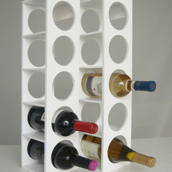 Proman Products - Rutherford Wine Rack - White - Rutherford Wine Rack, comes in set of two units, each unit can hold 5 bottles, can be stacked on table top or put on the wall. Oak veneer, color: white