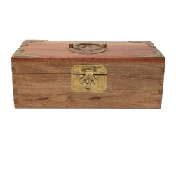 "Golden Lotus - Chinese Rosewood Metal Hardware Long Box - Dimensions:   w11"" x d4.5"" x h4.25"""