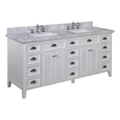Kitchen Bath Collection - Savannah 72-in Bath Vanity (Carrara/White) - This bathroom vanity set by Kitchen Bath Collection includes a white cabinet with soft close drawers, stunning Carrara marble countertop with double-thick beveled edges, self-closing doors, double undermount ceramic sinks, pop-up drains, and P-traps. Order now and we will include the pictured three-hole faucets and a matching backsplash as a free gift! All vanities come fully assembled by the manufacturer, with countertop & sink pre-installed.
