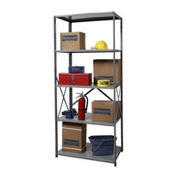 Hallowell - 87 in. High Hi-Tech Open Utility Shelving in Gray Finish (48 in. W x 18 in. D x - Depth: 48 in. W x 18 in. D x 87 in. H. Our starter Hi-Tech shelving unit features front beaded posts with side and back braces for anti-sway support. Select in a range of depths to fit closets, garages, workshops or storage areas. Matched adder units feature one-ended supports for easy expansion. Open style with sway braces. 5 Adjustable shelves. Fabricated from cold rolled steel. Welds are spaced 3 in. on center to provide maximum strength. Sides are triple flanged to form a channel. All 4 corners are lapped and resistance welded to provide a rigid corner and add extra strength to the shelf. Tubular front edge is designed to protect against impact loads. 48 in. W x 12 in. D x 87 in. H. 48 in. W x 18 in. D x 87 in. H. 48 in. W x 24 in. D x 87 in. H. Assembly required. 1-Year warranty