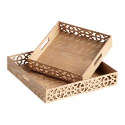 Cyan Design - Square Xoxo Trays - Square xoxo trays - ash veneer
