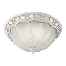 """Broan - Transitional Decorative Scroll White Bathroom Fan with Light - This bathroom vent fan offers quiet high performance air movement with style and comfort. This unit helps vent water moisture household chemicals and even gases from hairspray and perfumes with an 80 cubic feet per minute fan. A built-in light provides stylish room illumination. White housing with white alabaster glass. White finish. White alabaster glass. Takes two 60 watt candelabra bulbs (not included). Fits 2"""" X 6"""" ceiling construction. 13 1/4"""" diameter cover size. 4"""" ducting. Air movement rated at 80 CFM. Motor loudness rated at 2.5 Sones. HVI certified UL and cUL listed. Type IC.  White finish.   White alabaster glass.   Takes two 60 watt candelabra bulbs (not included).   Fits 2"""" X 6"""" ceiling construction.   13 1/4"""" diameter cover size.   4"""" ducting.   Air movement rated at 80 CFM.   Motor loudness rated at 2.5 Sones.   HVI certified UL and cUL listed.   Type IC."""