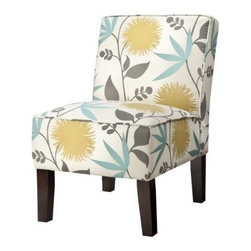 Armless Upholstered Slipper Chair, Aegean Blue & Yellow Floral - Happy and airy and so, so cute, this little side chair is a winner.