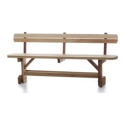 All Things Cedar - Back Support for Picnic Benches - This back-rest add on was custom designed for those who purchaced our picnic sets but wanted the support of a bench with a back, it became so popular it is now offered as a perment add on for any of our picnic benches. DIMENSIONS : 67w x 12d x 17h --- Fits MB70 Bench and MT70 Table Set (unassembled kit)