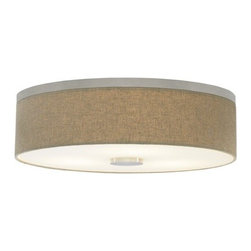 LBL Lighting - LBL Lighting | Fiona 18 Flush Mount Ceiling Light - Design by LBL Lighting.The Fiona 18 Flush Mount Ceiling Light features a minimal metal base with a round fabric shade and an opal glass diffuser. Offered in satin nickel or bronze finish, Fiona 18 is available with a linen, pebble, or pewter fabric shade. This tailored, timeless design is offered with incandescent lamping or compact fluorescent lamping in 120V or 277V. Incandescent model dimmable with a standard incandescent dimmer.Shown in satin nickel finish with a pebble fabric shade.