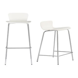Felix White Barstools - Retro modern low-profile backs curve into generous seats in a versatile white painted finish. Available in two heights, each with sturdy chrome-plated tube legs. Birch bentwood and basswood veneer or white painted with polyurethane finish. Chrome tube base with powdercoat finish.
