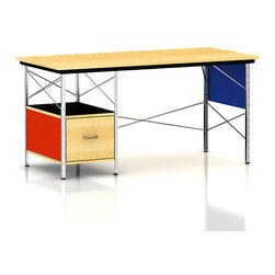 "Herman Miller - Eames Desk, Left-Hand Drawer - This Herman Miller Eames Desk features a right-hand file drawer and a multicolor finish. The Eames Desk Unit fits well in any home or contemporary office as it is functional and beautiful serving its purpose both as desk and art. The Eames Desk Unit is both strong and durable as it features upright and cross supports. The perforated panels are zinc-coated steel while the drawer fronts and shelves are smooth plywood and the side panels are painted hardboard. This Desk Unit is also easy on floors as its feet have nylon glides that make moving the desk easy and simple. Standing 29"" tall and having a total desk space of 28""x60"" the Eames Desk Unit will fit any office need while at the same time exhibit the beauty that is expected from any Eames designed product."