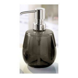 Colorful Round Liquid Soap Dispenser - 10oz, Grey - Round liquid soap dispenser made from beautiful durable acrylic.  This impact resistant contemporary round soap dispenser is unique, fun and very cool. Holds 10oz of soap or lotion. Made in Germany.