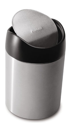 simplehuman - 1.5 Litre Countertop Trash Can - This pint-sized marvel is ideal for the kitchen or laundry room. Use it to dispose of tea bags, coffee grounds or dryer sheets — all those little things you don't need a big trash can for. The swinging lid makes disposal a cinch, and the entire top lifts off for emptying.