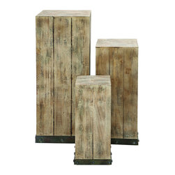 Benzara - Mastercraft Wood Pedestal Set For Your decor Items - Although lovely piece of decor all on its own, these pedestals are a beautiful blank slate, on which to place virtually any decor item, or even plants. Each pedestal is a different size and height to accentuate all over your house and bring the look together. Or keep them in a cluster to develop any creative decor theme you like.