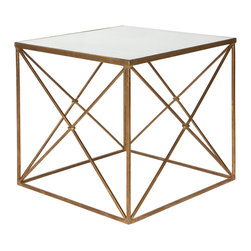 Kathy Kuo Home - Furano Gold Hollywood Regency Antique Mirror Cube Side Table - The antique gold mirrored glass table top and angled, geometric lines of the weathered iron base create an old Hollywood style side table. This reflective surface, sitting atop an open cube will be the perfect accent to your eclectic room.