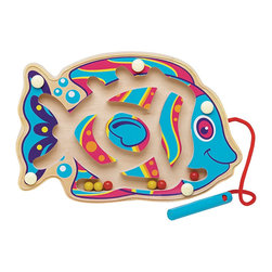"The Original Toy Company - The Original Toy Company Kids Children Play Crazy Fish - This wood framed bright colorful toy with magnetic beads will provide hours of imaginative play- promoting motor skills, hand eye coordination, matching dexterity and also makes great for a travel toy. Each Fish size - 7.5""Lx 5""H. Age 24 months plus. counter display contains 6."