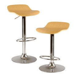 "Winsome Wood - Winsome Wood Kallie Set of 2 Air Lift Adjustable Stool w/ Cappuccino Color Wood - Set of 2 Air Lift Adjustable Stool w/ Cappuccino Color Wood Veneer Top & Metal Base belongs to Kallie Collection by Winsome Wood Kallie, Set of 2 Swivel and Adjustable Airlift Stool with Bentwood Veneer Seat in Natural Wood Grain. Metal Base. Adjustable Seat Height from 22.70""-30.80"" Barstool (2)"