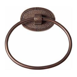 "The Copper Factory - Copper Factory Copper Towel Ring an Backplate Copper 7 3/8 x 5 3/4 "" - Copper Factory Copper Towel Ring an Backplate Copper 7 3/8 x 5 3/4 """