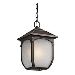 Kichler Lighting - Kichler Lighting 49432RZ Lakeway Transitional Outdoor Hanging Light - This classic 1 light hanging pendant from the Lakeway™ collection showcases rounded edges and traditional detailing. It features a Rubbed Bronze™ finish and beautiful Etched Seedy Glass to create an elegant accent for any space.