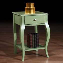 None - Alexandra Green Distressed One-drawer Nightstand - Add a contemporary touch to your living space with this Alexandra one-drawer nightstand. A lovely distressed green finish highlights this wooden nightstand.
