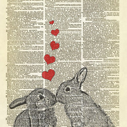 Bunnies in Love Dictionary Art Print - © Altered Artichoke. All rights reserved.