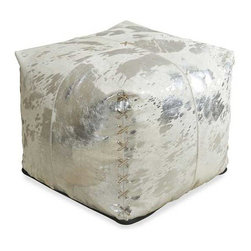 Interlude Home - Interlude Home Aldo Metallic Hide Pouf - This Interlude Home Metallic Hide Pouf is crafted from Hide and finished in Gray Metallic Hide.  Overall size is:  20 in. W  x  20 in. D x 18 in. H.