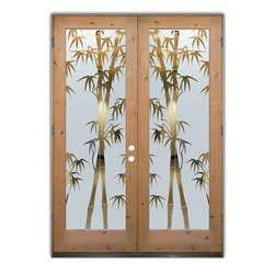 "Glass Doors - Frosted Glass Front Entry Doors - BAMBOO SHOOTS neg KNOTTY ALDER - Glass Front Entry Doors that Make a Statement! Your front entry door is your home's initial focal point and glass front doors by Sans Soucie with frosted, etched glass designs create a unique, custom effect while providing privacy AND light thru exquisite, quality designs!  Available any size, all glass front doors are custom made to order and ship worldwide at reasonable prices.  Exterior entry door glass will be tempered, dual pane (an equally efficient single 1/2"" thick pane is used in our fiberglass doors).  Selling both the glass inserts for front doors as well as entry doors with glass, Sans Soucie art glass doors are available in 8 woods and Plastpro fiberglass in both smooth surface or a grain texture, as a slab door or prehung in the jamb - any size.   From simple frosted glass effects to our more extravagant 3D sculpture carved, painted and stained glass .. and everything in between, Sans Soucie designs are sandblasted different ways creating not only different effects, but different price levels.   The ""same design, done different"" - with no limit to design, there's something for every decor, any style.  The privacy you need is created without sacrificing sunlight!  Price will vary by design complexity and type of effect:  Specialty Glass and Frosted Glass.  Inside our fun, easy to use online Glass and Entry Door Designer, you'll get instant pricing on everything as YOU customize your door and glass!  When you're all finished designing, you can place your order online!   We're here to answer any questions you have so please call (877) 331-339 to speak to a knowledgeable representative!   Doors ship worldwide at reasonable prices from Palm Desert, California with delivery time ranges between 3-8 weeks depending on door material and glass effect selected.  (Doug Fir or Fiberglass in Frosted Effects allow 3 weeks, Specialty Woods and Glass  [2D, 3D, Leaded] will require approx. 8 weeks)."