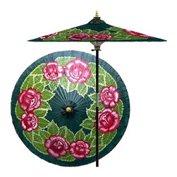 Oriental Unlimted - 7 ft. Tall Summer Roses Patio Umbrella (None) - Choose Base: NoneHandcrafted and hand-painted by master artisans. 100% Waterproof and extremely durable. Umbrella shade can be set at 2 different heights, 1 for maximum shade coverage and the other for a better view of the shade. An optional base, which secures the umbrella rod and shade against strong winds and rain. Patio umbrella rod and base is constructed of stained oak hardwood for a rich look and durable design. Umbrella shade is made of oil-treated cotton. Minimal assembly required. Canopy: 76 in. D x 84 in. HRoses are highly symbolic the world over, representing love and passion. This lovely umbrella makes the most of our craftsman's rich, gorgeous palette and sumptuous lacquer finish to showcase a fresh bunch of Red roses in full bloom amidst a lush blanket of leaves.