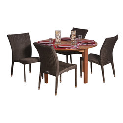 International Home Miami - Amazonia BT Lorrainne Round 5-Piece Patio Dining Set - Great Quality, elegant design patio set, made of solid eucalyptus wood, aluminum and synthetic wicker. FSC (Forest Stewardship Council) certified. Enjoy your patio with style with these great sets from our Amazonia outdoor collection